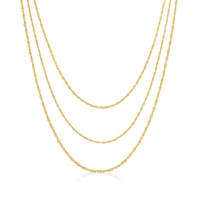 Italian 18kt Gold Over Sterling Three-Strand Singapore Chain Layered Necklace