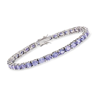 10.00 ct. t.w. Tanzanite Tennis Bracelet in Sterling Silver