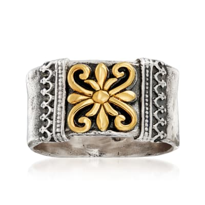 Sterling Silver with 14kt Yellow Gold Scroll- Design Ring
