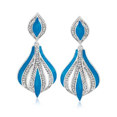 .25 ct. t.w. Diamond and Blue Enamel Drop Earrings in Sterling Silver