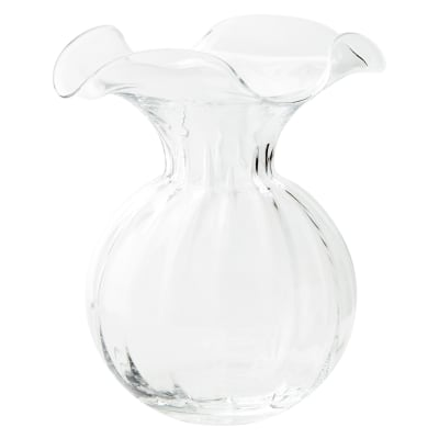 """Vietri """"Hibiscus"""" Large Fluted Glass Vase from Italy"""