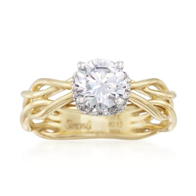 Simon G. .13 ct. t.w. Diamond Engagement Ring Setting in 18kt Two-Tone Gold