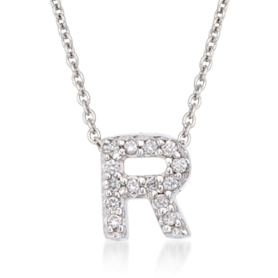 "Roberto Coin ""Love Letter"" Diamond Accent Initial ""R"" Necklace in 18kt White Gold"