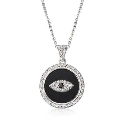 Black Onyx and White Zircon Evil Eye Pendant Necklace with Black Spinel Accent in Sterling Silver