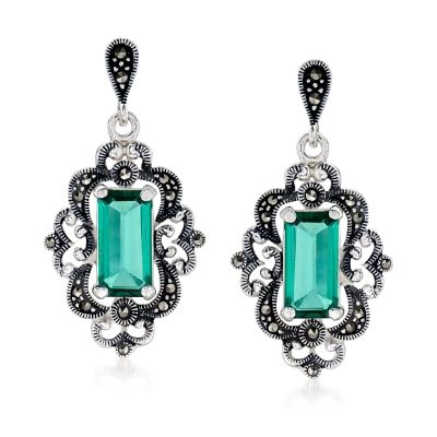4.50 ct. t.w. Siberian Green Quartz and Swarovski Marcasite Drop Earrings in Sterling Silver