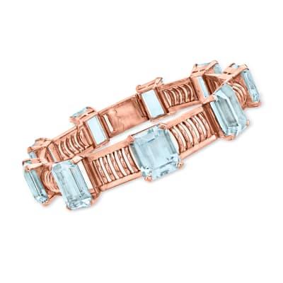 C. 1950 Vintage 62.00 ct. t.w. Aquamarine Station Bracelet in 18kt Rose Gold