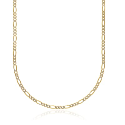 Men's 3.9mm 14kt Two-Tone Gold Diamond-Cut and Polished Figaro Chain Necklace