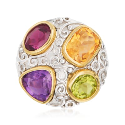 4.90 ct. t.w. Multi-Gemstone Ring in Sterling Silver and 14kt Yellow Gold