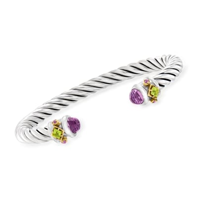 """Phillip Gavriel """"Italian Cable"""" 2.46 ct. t.w. Amethyst and .50 ct. t.w. Peridot Cuff Bracelet in Sterling Silver with 18kt Yellow Gold"""