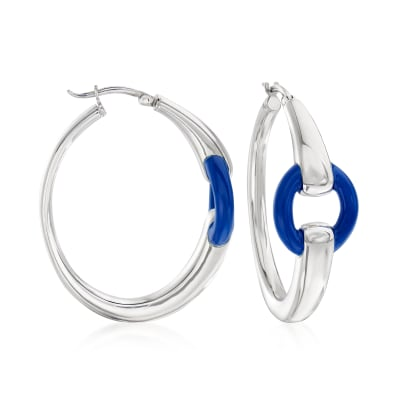 Italian Blue Enamel Hoop Earrings in Sterling Silver