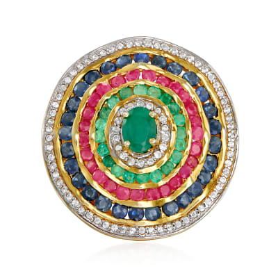 2.80 ct. t.w. Multi-Gemstone Circle Ring in 18kt Gold Over Sterling