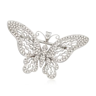 C. 1970 Vintage 2.35 ct. t.w. Diamond Butterfly Pin in 18kt White Gold