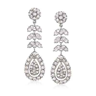 C. 1980 Vintage 2.65 ct. t.w. Diamond Drop Earrings in Platinum
