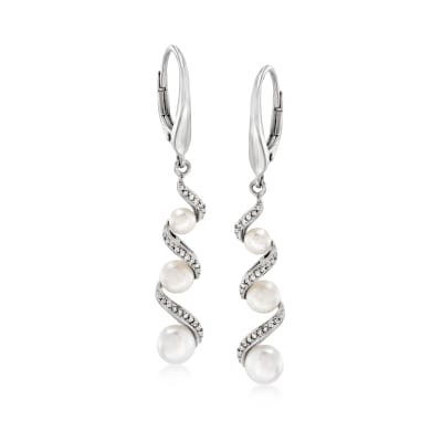 3.5-5mm Cultured Pearl and .10 ct. t.w. Diamond Drop Earrings in Sterling Silver