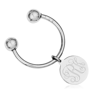 Sterling Silver  Three-Initial Engravable Key Chain