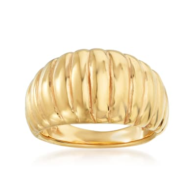 Italian 18kt Yellow Gold Ribbed Dome Ring