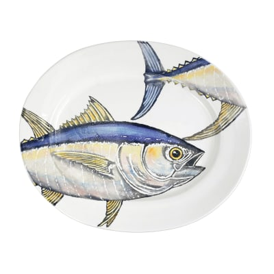 "Vietri ""Pesca"" Tuna Large Oval Platter from Italy"