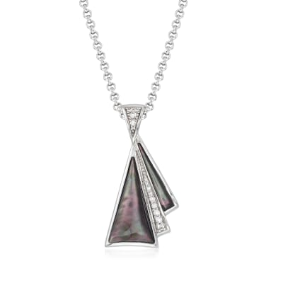 "Belle Etoile ""Empire"" Black Mother-Of-Pearl and .21 ct. t.w. CZ Pendant in Sterling Silver"