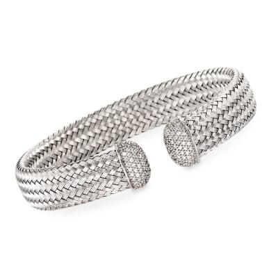 """Charles Garnier """"Bellini"""" Italian 1.00 ct. t.w. CZ Cuff Bracelet in Sterling Silver"""