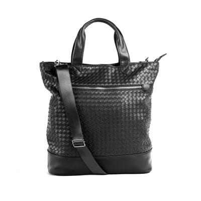 "Brouk & Co. ""Gianna"" Faux Black Leather Tote Bag"