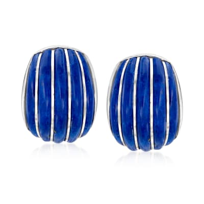 Lapis Curved Earrings in Sterling Silver