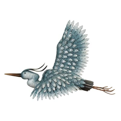 Regal Metal Heron Wall Decor
