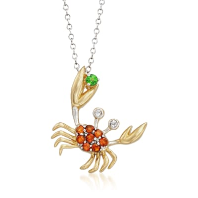 .30 ct. t.w. Multi-Gem Crab Pendant Necklace in Two-Tone Sterling Silver