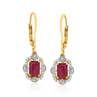 2.00 ct. t.w. Ruby and .19 ct. t.w. Diamond Drop Earrings in 14kt Yellow Gold