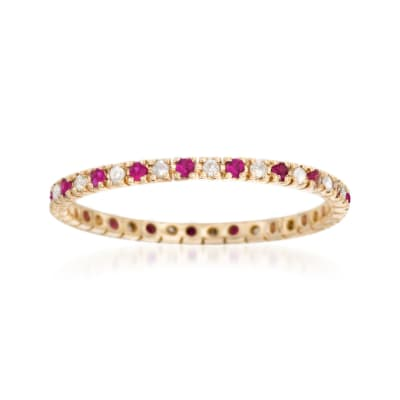 .18 ct. t.w. Ruby and .13 ct. t.w. Diamond Eternity Band Ring in 14kt Yellow Gold