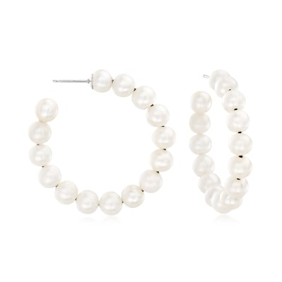 6-7mm Cultured Pearl C-Hoop Earrings in Sterling Silver