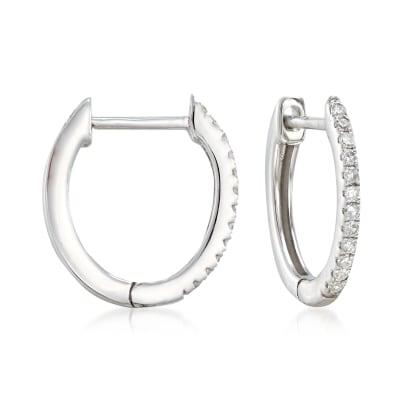 .10 ct. t.w. Diamond Huggie Hoop Earrings in 14kt White Gold