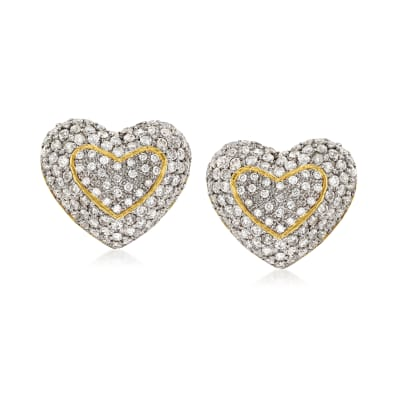 C. 1990 Vintage 4.60 ct. t.w. Pave Diamond Heart Earrings in 18kt Yellow Gold
