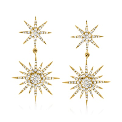 1.00 ct. t.w. Diamond Starburst Drop Earrings in 14kt Yellow Gold