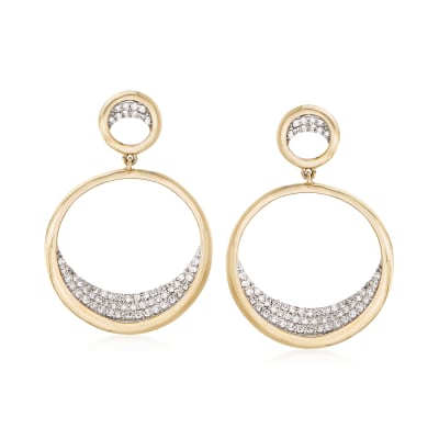 .37 ct. t.w. Pave Diamond Double Circle Drop Earrings in 14kt Yellow Gold