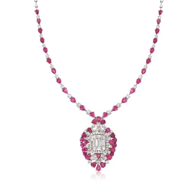 12.00 ct. t.w. Ruby and 5.00 ct. t.w. Diamond Necklace in 18kt White Gold