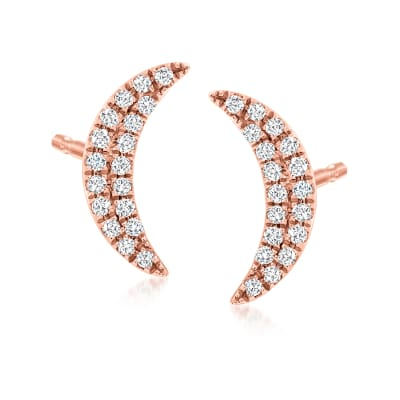 .10. ct. t.w. Diamond Moon Stud Earrings in 14kt Rose Gold