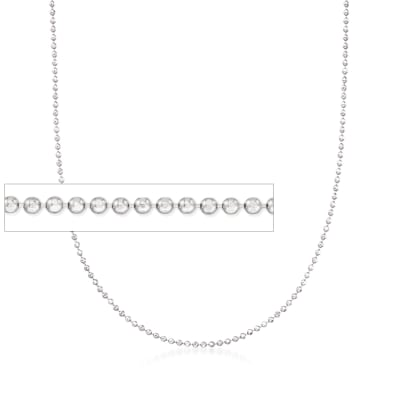 Italian 1mm Sterling Silver Adjustable Slider Bead Chain Necklace
