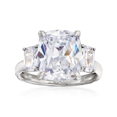 7.35 ct. t.w. CZ Three-Stone Ring in Sterling Silver