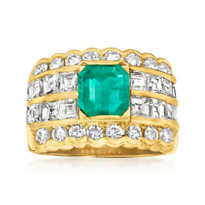 C. 1990 Vintage 1.21 Carat Emerald and 1.76 ct. t.w. Diamond Multi-Row Ring in 18kt Yellow Gold