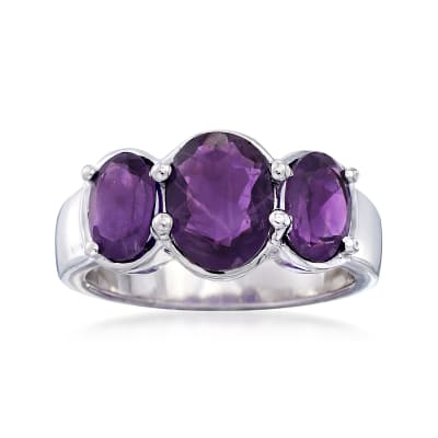 3.00 ct. t.w. Oval Amethyst Three-Stone Ring in Sterling Silver