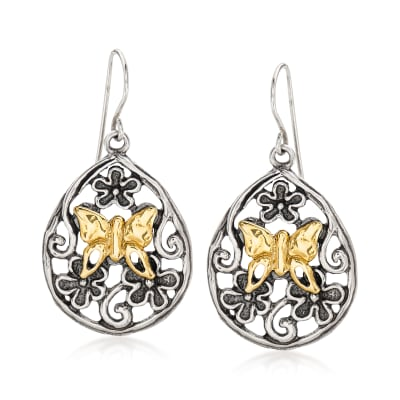 14kt Yellow Gold and Sterling Silver Flower and Butterfly Drop Earrings