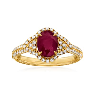 2.10 Carat Ruby and .40 ct. t.w. Diamond Ring in 14kt Yellow Gold