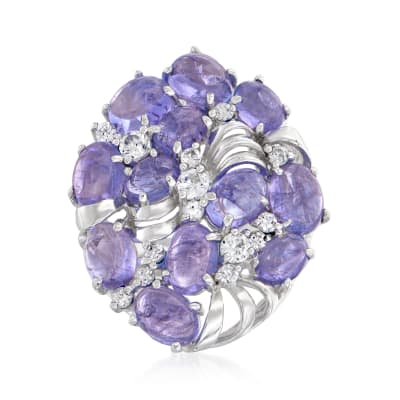 16.40 ct. t.w. Tanzanite and 3.80 ct. t.w. White Zircon Cocktail Ring in Sterling Silver