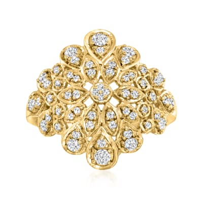 .60 ct. t.w. Diamond Floral Ring in 18kt Gold Over Sterling