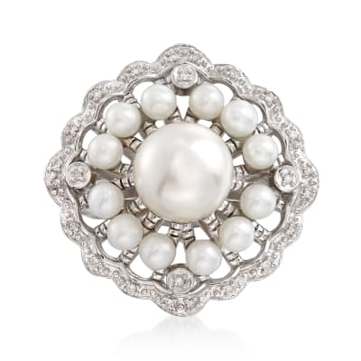 3-8mm Cultured Pearl Scalloped Ring with Diamond Accents in Sterling Silver
