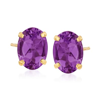 1.50 ct. t.w. Amethyst Oval Stud Earrings in 14kt Yellow Gold