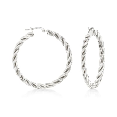 Italian Sterling Silver Medium Twisted Hoop Earrings