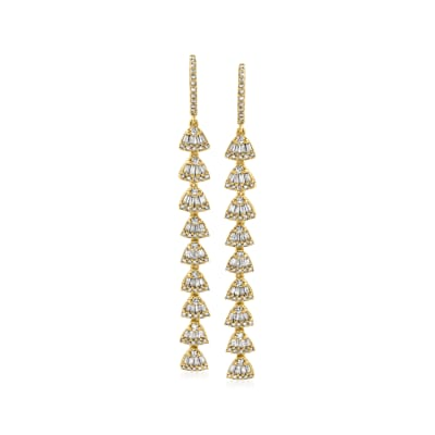 1.33 ct. t.w. Diamond Linear Drop Earrings in 18kt Gold Over Sterling