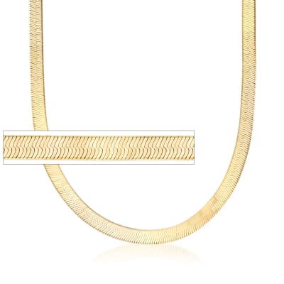 Italian 6mm 18kt Gold Over Sterling Silver Herringbone Chain Necklace