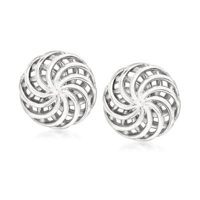 Italian Sterling Silver Openwork Swirl Stud Earrings